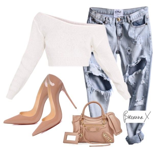 A fashion look from March 2017 featuring Christian Louboutin pumps and Balenciaga handbags. Browse and shop related looks.