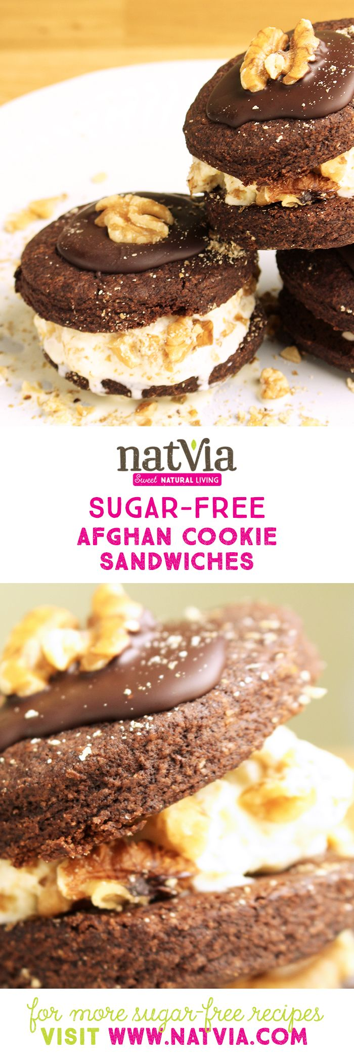 These Afghan #Cookie Ice Cream #Sandwiches have come just in time for #summer and are the ultimate cool-down treat. #sugarfree #natvia #healthy