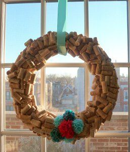 Beautiful DIY Cork Wreath | AllFreeChristmasCrafts.com