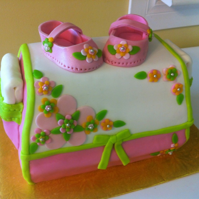 163c086382db 8 Baby Shower Girl Diaper Bag Cake French Vanilla with Strawberry Butter  cream frosting ...