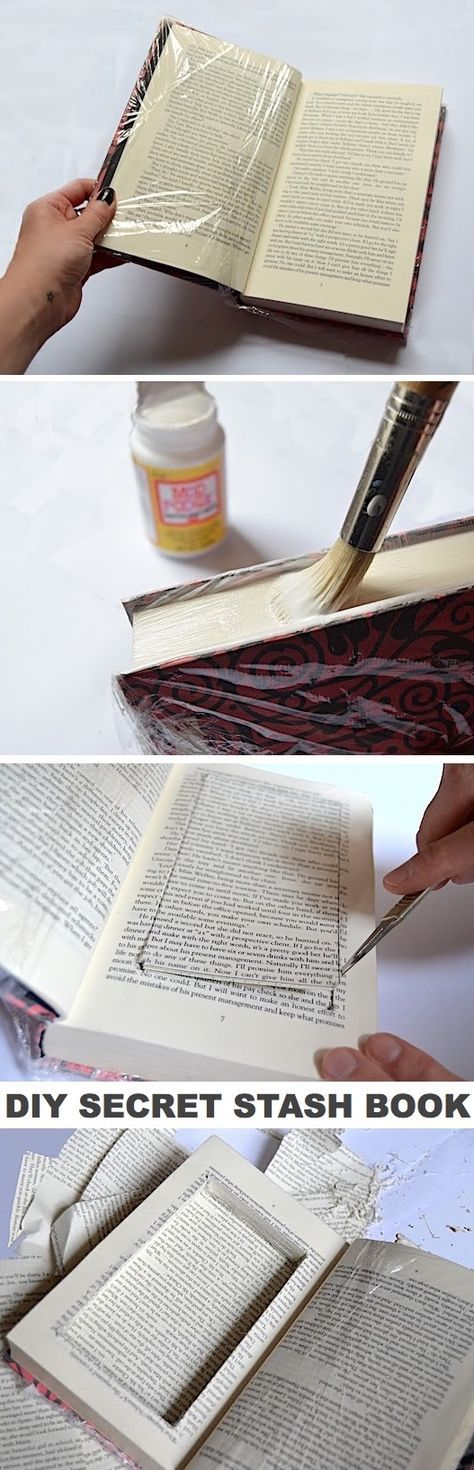 Check out this life hack! DIY Secret Stash Book. Perfect for hiding money. -- Ea...