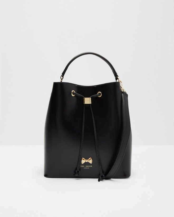Micro bow bucket bag - Black | Bags | Ted Baker