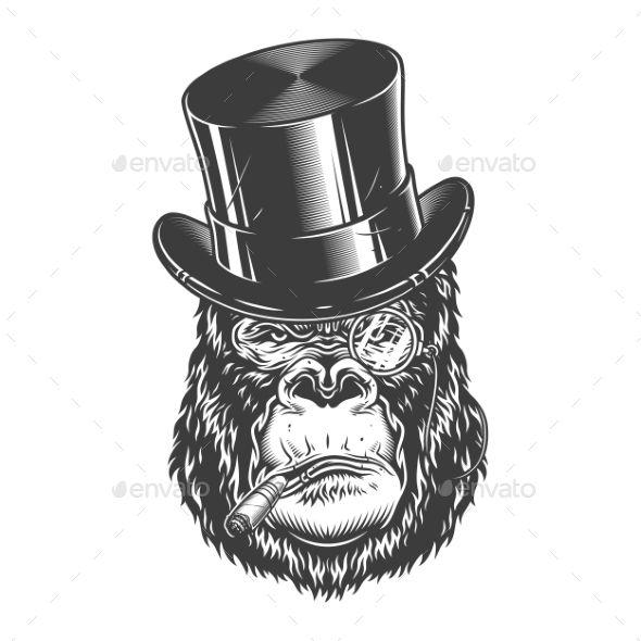 Gorilla Head In Monochrome Style Gorilla Custom Tshirt Design Monochrome Fashion