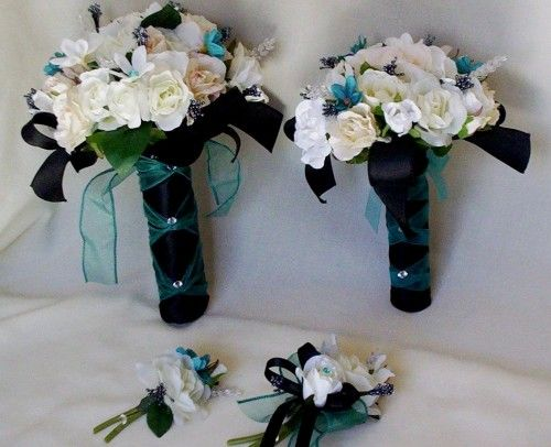 Turquoise Wedding Flower Package Ivory Black 6 Pieces Silk flowers