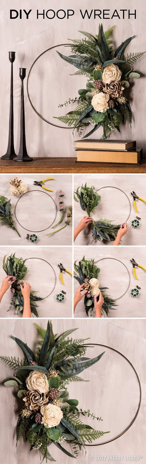 Elevate any space with an elegant DIY hoop wreath! To DIY: 1) Clip floral stems, leaving just enough to attach flowers to the ring with floral wire. 2) Arrange the florals, starting with the greenery. This gives the wreath its shape and fullness. 3) Add sturdy, textural pieces. 4) Finish off with the focal elements—we chose roses and waterlilies.