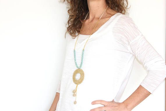 Check out this item in my Etsy shop https://www.etsy.com/listing/508840048/beige-long-necklace-with-pendant-tassel