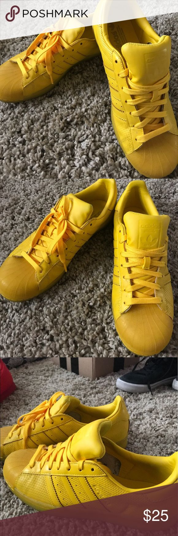Yellow shell toe Adidas Shell toe style Adidas. Bright yellow, like new adidas Shoes Athletic Shoes