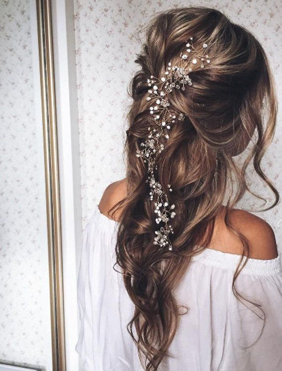 Bridal Hair Vine Bridal Crystal Wreath Long Hair Vine Hair Etsy In 2020 Long Hair Styles Hair Styles Bridal Hair Vine