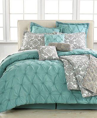 Charmant Jasmine Blue 10 Piece California King Comforter Set