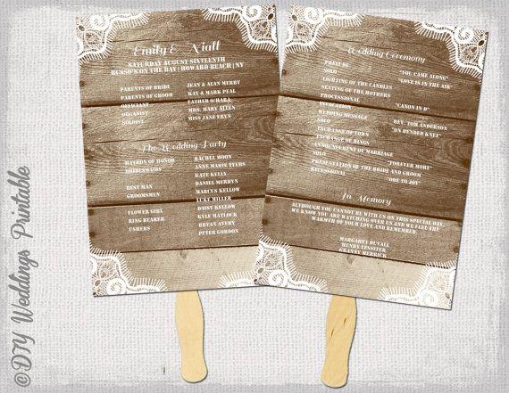 Rustic wedding program template fan wedding programs quotwood lacequot diy fan printable you edit for Rustic wedding program fans