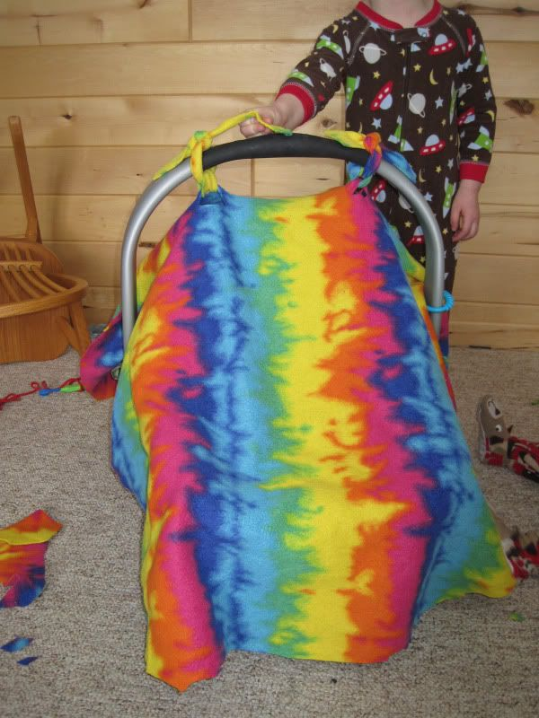 No Sew Quickly Made Car Seat Canopy Out Of An Old Fleece