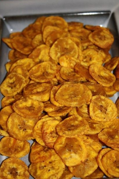Baked Plantain Chips...tried these from my friend the other day (without the spices) and they taste JUST like potato chips, but much healthier!