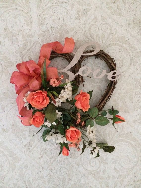 Heart Wreath Love Wreath Heart Decor Rose by AdorabellaWreaths, $65.00