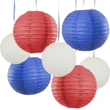 Bobee Labor Day Decorations, Red White Blue Paper Lanterns, Party Decor, 7 pack