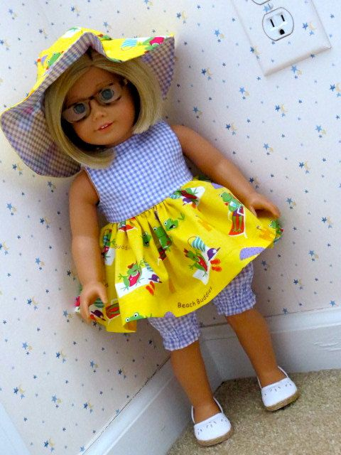 American Girl Doll Sleeveless Dress, Matching Bloomer Pants and Floppy Brimmed Hat by Sewsweetdaisy