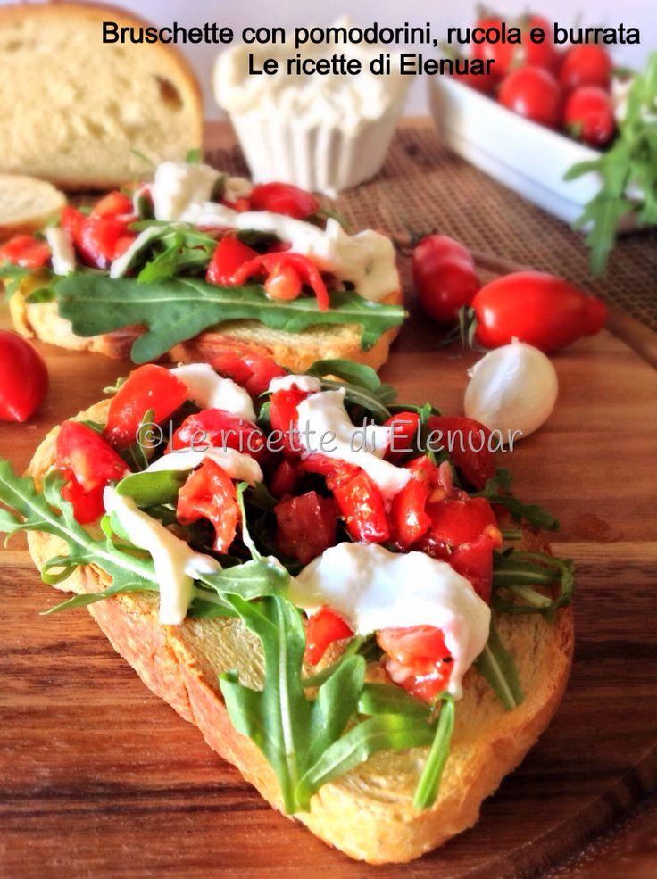 Bruschetta con pomodorini, rucola e burrata