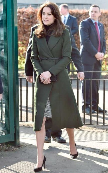 The Duchess of Cambridge green max mara coat and le kilt skirt Edinburgh