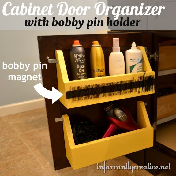 Home Storage and Organization | Add storage space on the back of your bathroom cabinet doors with this tutorial. Also includes a magnetic strip to hold all those wayward bobby pins!