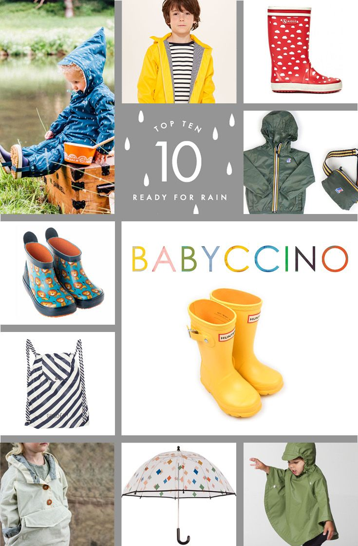 Get ready for rain with our Top Ten selection of kids raincoats, wellies and umbrellas (there's even a waterproof bag!)