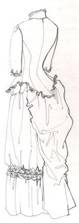 1880 Vestido de noiva formado por corpete e saia de cetim de seda creme e renda mecânica da mesma cor. Corpo justo com pinças armado com barbas pelo interior. Abotoa na frente com vinte e quatro botões de forma esférica sugerindo pérolas, em aberturas caseadas. Pelo interior, aplicação de folho plissado de mousseline de seda guarnecida com renda mecânica. Forro de tafetá de algodão e cetim de seda, com aplicação, pelo interior, de folho pregueado de organza branca, guarnecido com renda…