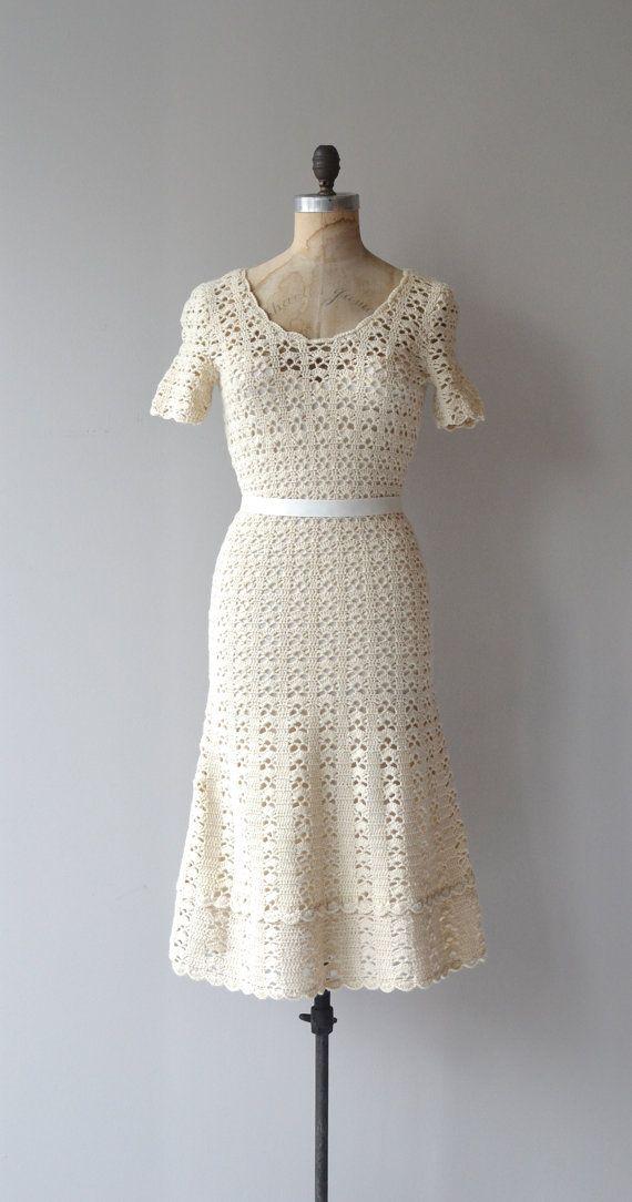 Nalebind crochet dress cream 1950s crochet dress by DearGolden