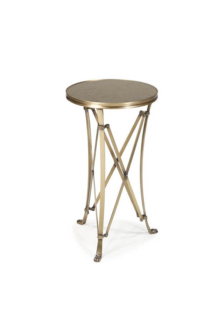 Guéridon is a Directoire occasional table made in Brass. The piece is available with a marble, wooden, glass or antiqued mirror top.