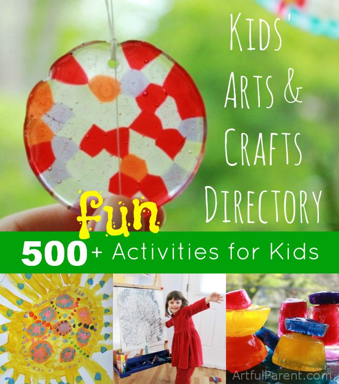 The Artful Parent Kids Arts and Crafts Directory -- Over 500 Fun, Artful Activities for Kids. I don't generally find pinning huge lists like this productive, but if I'm looking for something to supplement a unit, I should remember to check here.