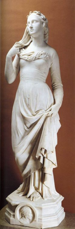 Beatrice, marble sculpture by Joseph-Hughes Fabisch, French, 1812-1886, Musée des Beaux-Arts, Lyon, France.  Literary subjects were always esteemed by Romantic artists and especially those drawn from Dante's The Divine Comedy.