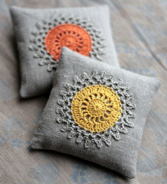 Stitch some crocheted doilies to pillows...