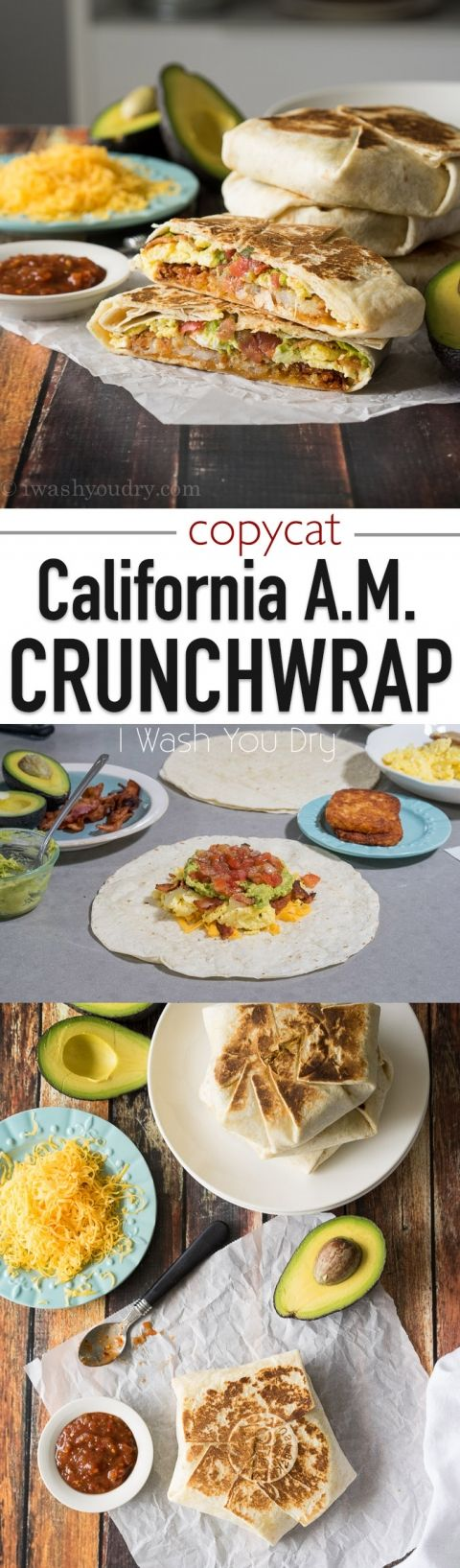 Move over Taco Bell! This breakfast CopyCat California AM Crunchwrap is filled with eggs, crispy hash browns, bacon and avocado! It's downright delicious!