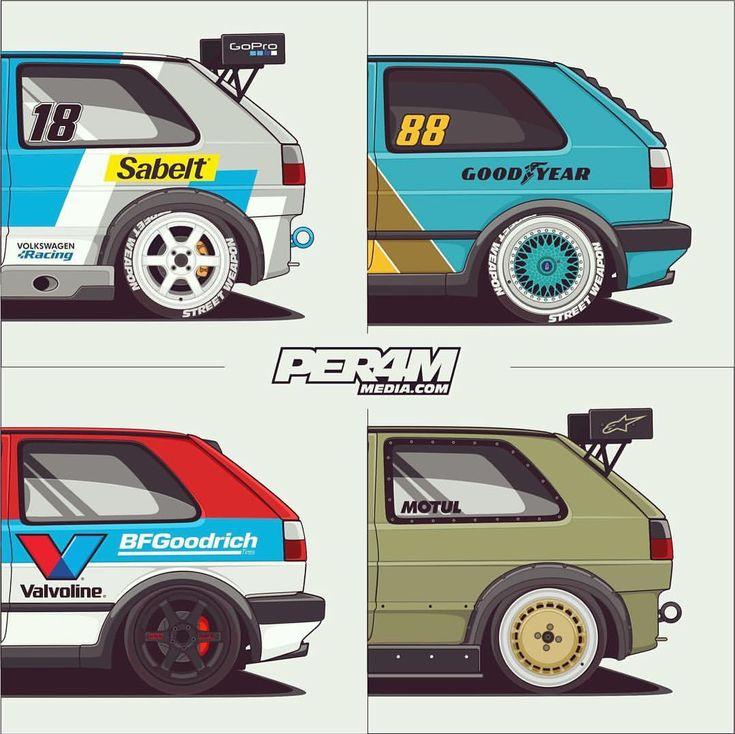 90's vibe #mk2crew #vwstance #per4m_media #vag #timeattack #racecar #illustration #automotiveart #ca - per4m_media