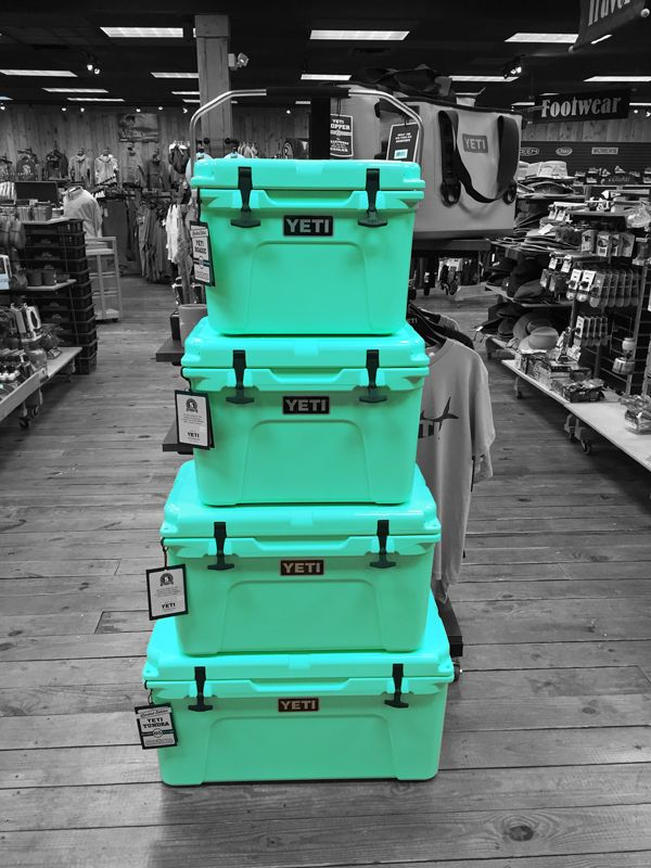 They're late for St. Paddy's but limited edition YETI 'Sea Foam' coolers are in the shops!  (Roadie and Tundra)