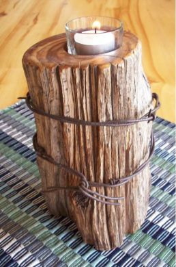 "Rustic Fence Post Candle (8"" single)"