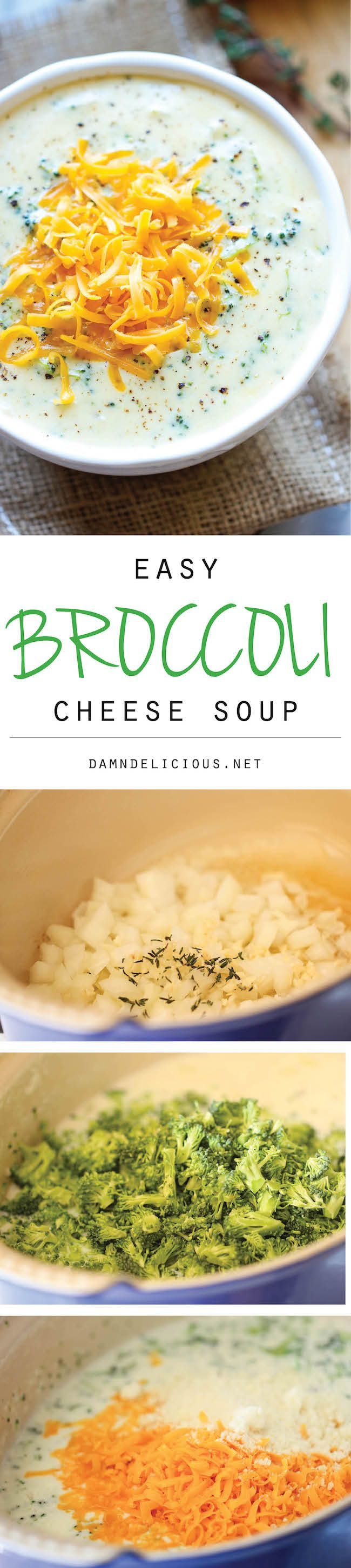 Broccoli Cheese Soup - So amazingly warm and cheesy, and you easily make this in less than 30 min. Perfect for those busy weeknights!