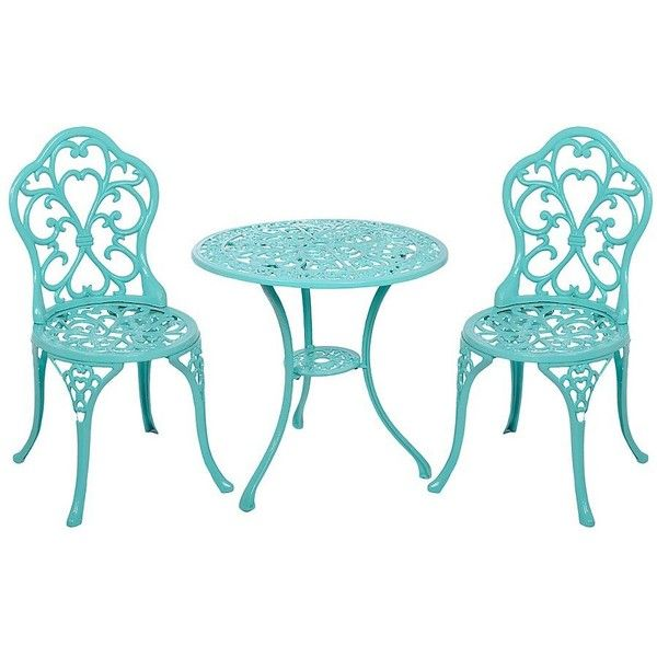 Turquoise Fleur-de-Lis Cast Iron Bistro, Set of 3 (1 225 SEK) ❤ liked on Polyvore featuring home, outdoors, 3 piece bistro set, outside bistro set, 3pc bistro set, cast iron bistro set and outdoor bistro sets