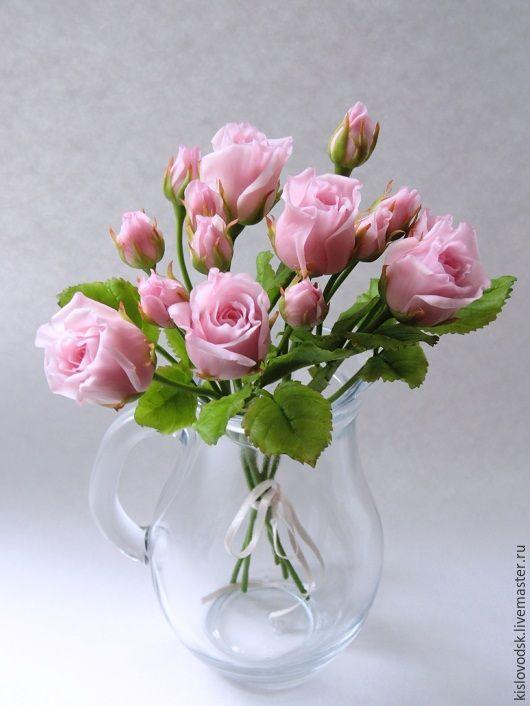 Купить Букетик Еще немного очарования. Полимерная глина. - розовый, розовые розы, ручная работа