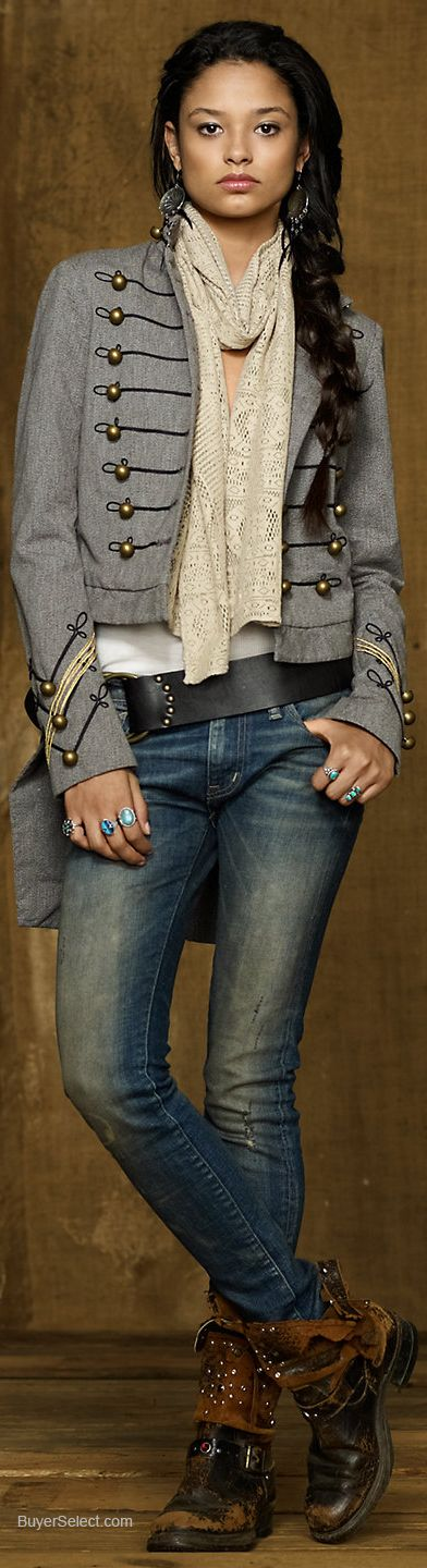 Ralph Lauren. I am strangely drawn to this look. Maybe because it reminds me of something Johnny Depp would wear? Like gypsy biker rock star...