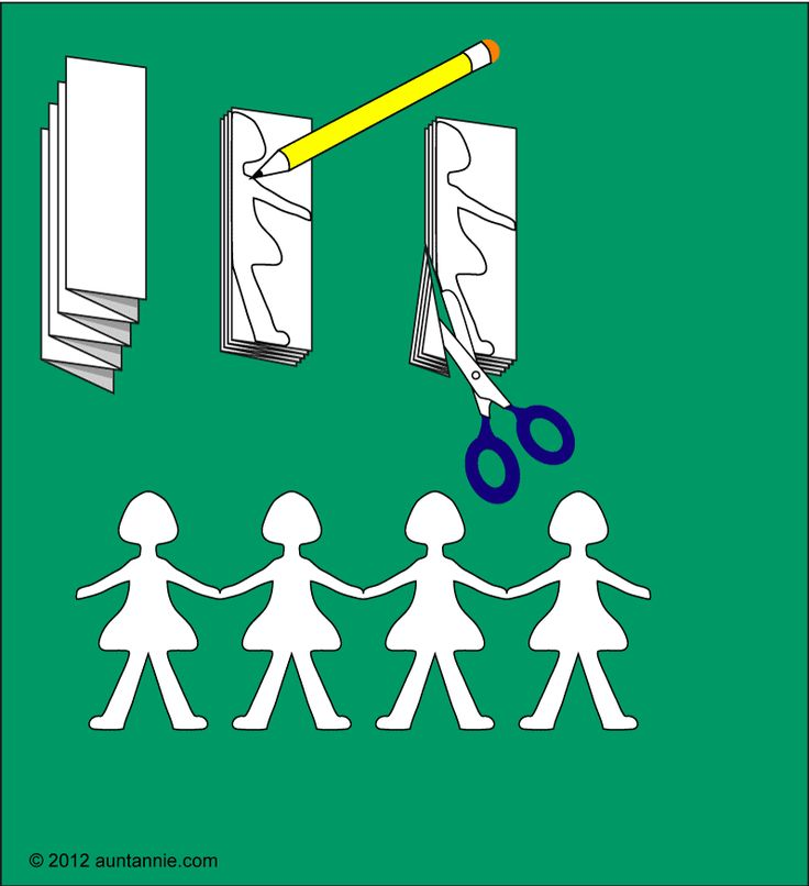 Free Paper Dolls Chain Template | Paper Doll Chains - Friday Fun Craft Projects - Aunt Annie's Crafts
