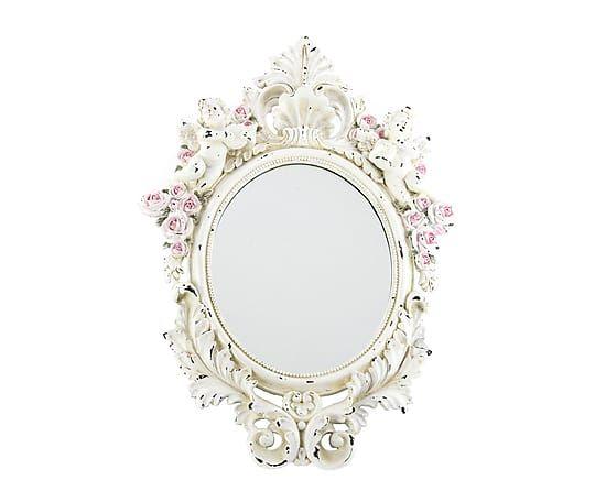 Espejo de pared enmarcado en resina 40x56 cm de for Espejo vintage plateado