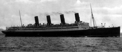 """RMS Aquitania was a Cunard Line ocean liner designed by Leonard Peskett and built by John Brown & Company in Clydebank, Scotland. She was launched on 21 April 1913[4] and sailed on her maiden voyage to New York on 30 May 1914. Aquitania was the third in Cunard Line's """"grand trio"""" of express liners, preceded by the RMS Mauretania and RMS Lusitania, and was the last surviving four-funnelled ocean liner. Widely considered one of the most attractive ships of her time."""