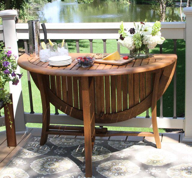 Eucalyptus Round Folding Table transitional-folding-tables