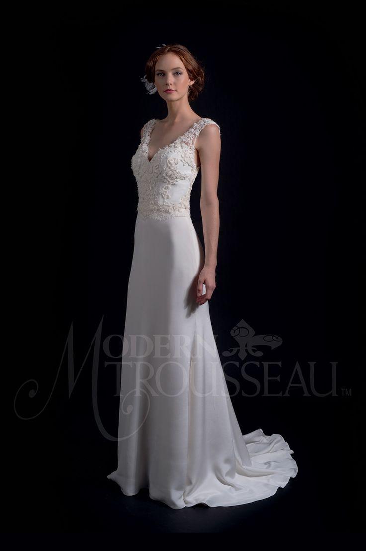 fit to flare skirt with a chapel train - Modern Trousseau Fall 2016 Wedding Dresses | itakeyou.co.uk #weddinggown #weddingdress: