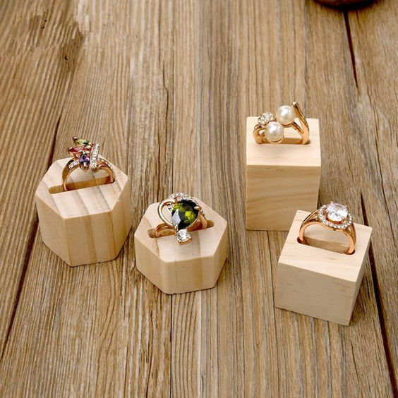 Lot of 2 Square or Hexagonal Wood Ring Display Holder Ring Display Stand Wood Jewelry Holder