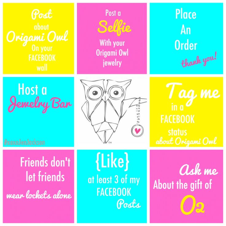 Origami Owl tic tac toe Facebook game