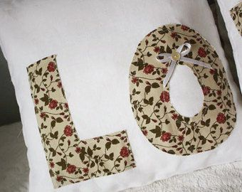 Pure linen pillow covers with LOVE letters applique, set of 2 -       Edit Listing   - Etsy