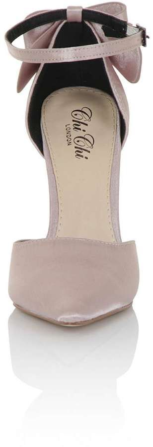 *Chi Chi London Pink Satin Point Heeled Court Shoes