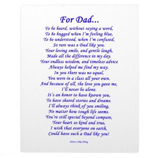 For Dad Memorial Poem Display Plaque