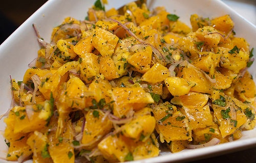 Sicilian orange salad: Oranges from Ribera, sweet onion, anchovies, celery. Add salt, pepper and extravirgin olive oil... delicious!