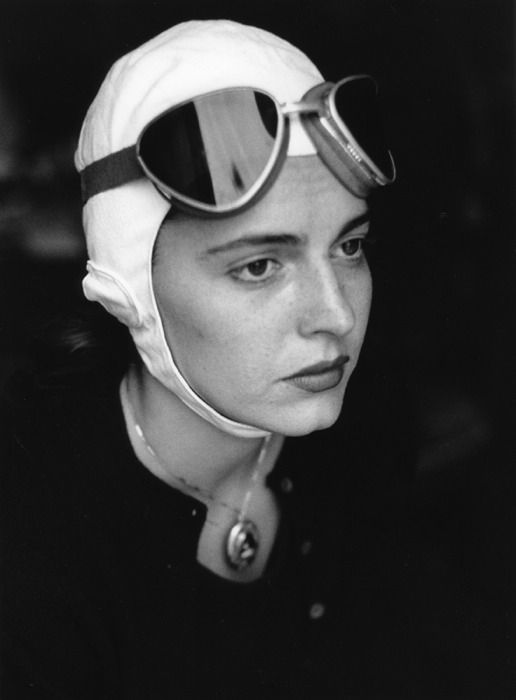 Photographer Ruth Orkin - American Girl in Florence, Italy, 1951, Model Jinx Allen in Goggles.