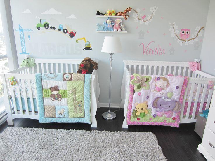 Twins Nursery, boy & girl.